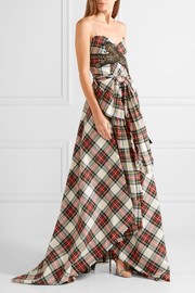 Gucci Embellished plaid wool gown