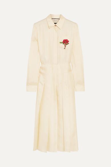 gucci female gucci embroidered silktwill midi dress cream