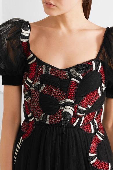 Gucci Verzierte Robe aus Tüll mit Stickereien Neuesten Kollektionen Günstige Preise Zuverlässig u3gB1wqhf
