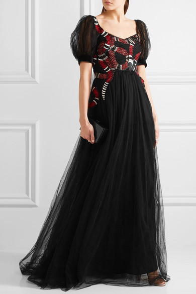 02503781dea Gucci. Embellished embroidered tulle gown