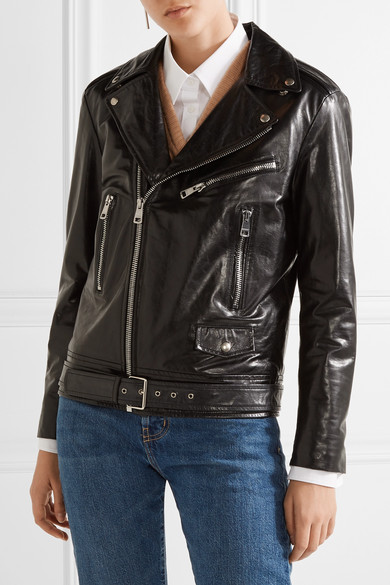 Gucci Painted Leather Biker Jacket Net A Porter Com