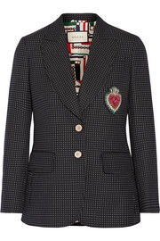 Gucci Embellished polka-dot wool-blend blazer
