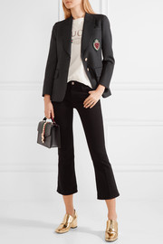 Embellished polka-dot wool-blend blazer