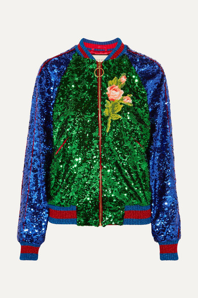gucci female gucci appliqued sequined tulle and satin bomber jacket green