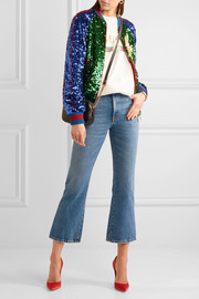 Appliquéd sequined tulle and satin bomber jacket