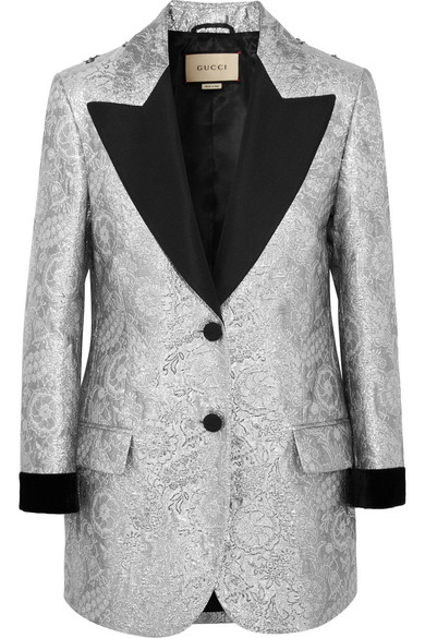gucci female gucci velvettrimmed embellished metallic brocade blazer silver
