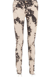 Appliquéd distressed mid-rise skinny jeans
