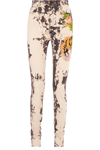 gucci female gucci appliqued bleached highrise skinny jeans dark gray