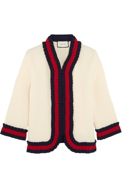 Gucci - Ruffle-trimmed Ribbed Wool Cardigan - Cream