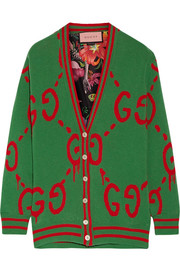 Gucci Reversible wool jacquard-knit and printed silk-twill cardigan
