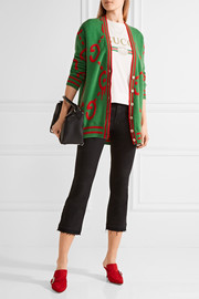 Reversible wool jacquard-knit and printed silk-twill cardigan