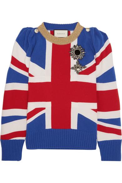 gucci female gucci union jack embellished wool sweater blue