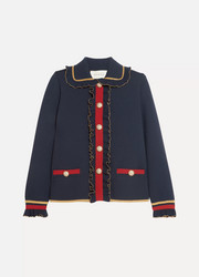 Gucci Ruffled metallic merino wool-blend cardigan