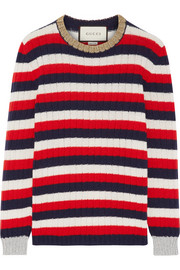 Gucci Metallic-trimmed striped wool and cashmere-blend sweater
