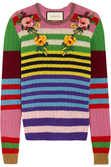 Gucci - Appliquéd Striped Wool And Cashmere-blend Sweater - Pink