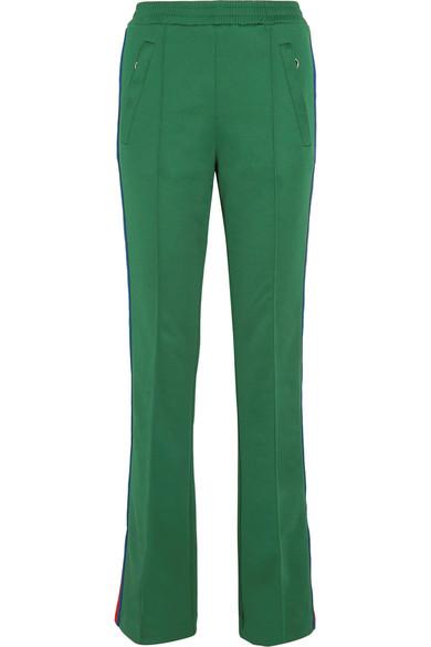 Gucci - Striped Satin-jersey Track Pants - Dark green