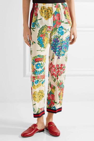 Gucci Bedruckte Seidenhose mit geradem Bein aus Crêpe de Chine mit Ripsbandbesatz Günstig Kaufen Zum Verkauf Freies Verschiffen Größte Lieferant Billig Verkauf Besuch Neu JJhxOoO