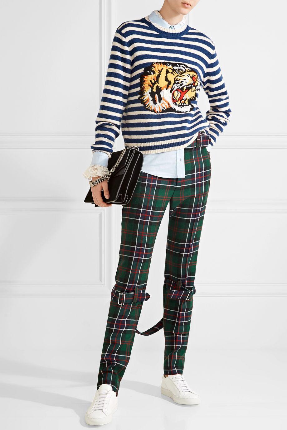 Gucci 格子呢羊毛窄腿裤