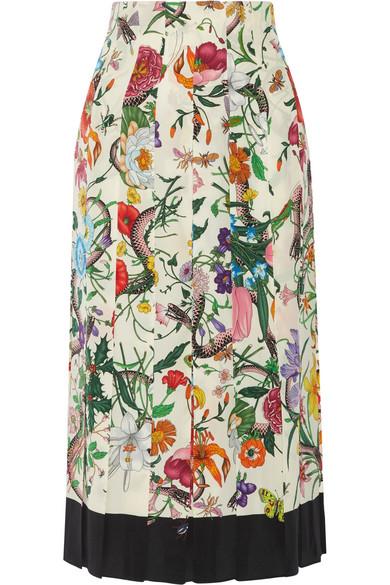 c21d6d0efd Gucci | Pleated floral-print silk crepe de chine midi skirt | NET-A ...
