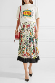 Pleated floral-print silk crepe de chine midi skirt