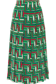 Pleated printed silk crepe de chine skirt