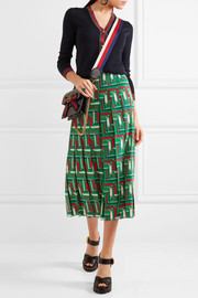 Gucci Pleated printed silk crepe de chine skirt