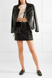 Buckle-embellished textured-leather mini skirt