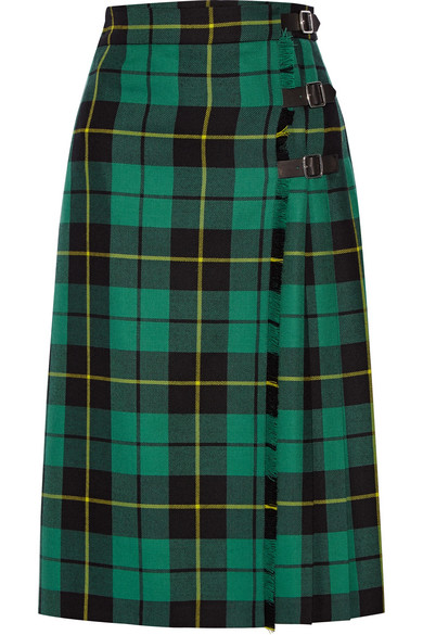 Gucci - Pleated Tartan Wool Midi Skirt - Jade