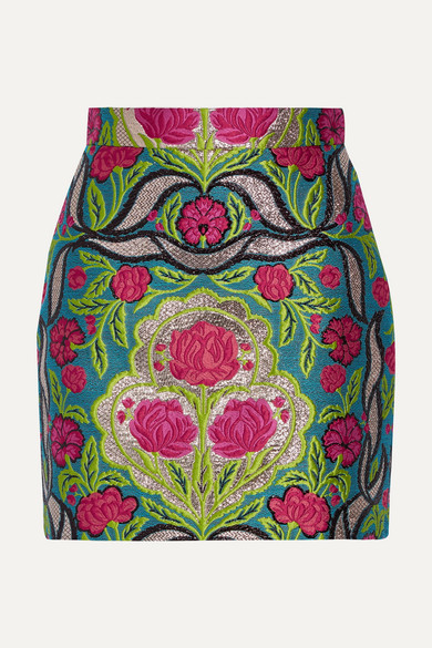 Gucci - Metallic Floral-jacquard Mini Skirt - Green