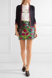 Metallic floral-jacquard mini skirt