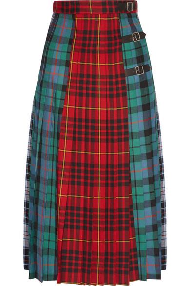 Gucci - Pleated Tartan Wool Midi Skirt - Red