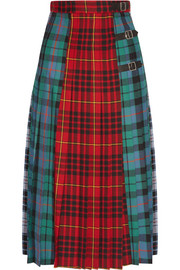 Pleated tartan wool midi skirt
