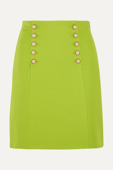 Gucci - Faux Pearl-embellished Wool-crepe Mini Skirt - Bright green