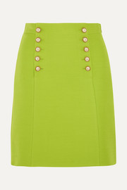 Gucci Faux pearl-embellished wool-crepe mini skirt