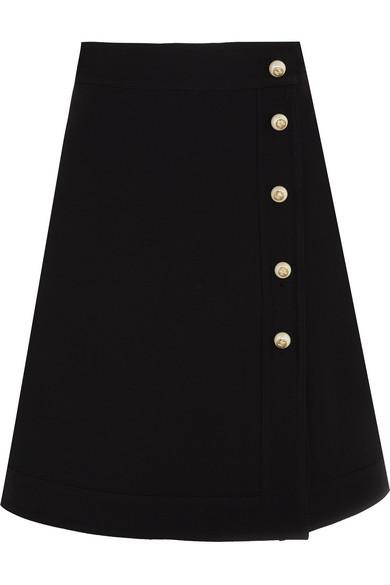 gucci female gucci embellished wool and silkblend mini skirt black