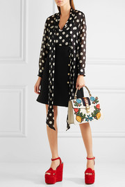 Gucci Embellished wool and silk-blend mini skirt