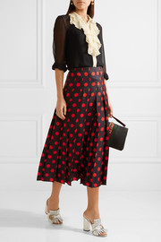 Pleated polka-dot silk-satin twill midi skirt