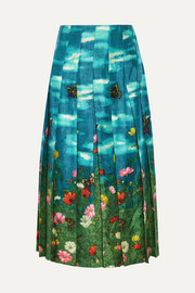 Gucci Pleated printed silk-satin skirt
