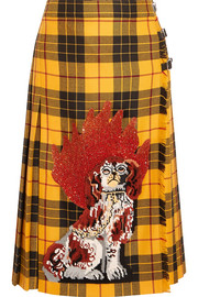 Gucci Appliquéd plaid wool midi skirt