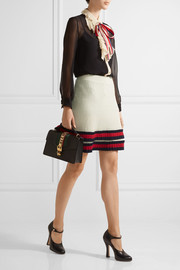 Gucci Pleated ribbed wool mini skirt