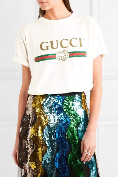 ed21b429 Gucci | Appliquéd distressed printed cotton-jersey T-shirt | NET-A ...