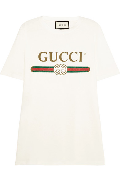 Gucci - Appliquéd Distressed Printed Cotton-jersey T-shirt - Cream