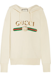 Gucci Embroidered cotton-jersey hooded top