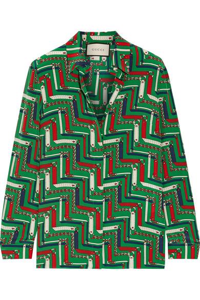 Chain-Print Silk Crepe De Chine Blouse, Green