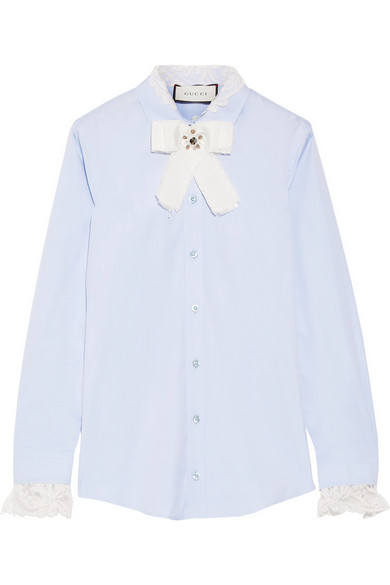 Gucci - Bow-embellished Lace-trimmed Cotton-poplin Shirt - Sky blue