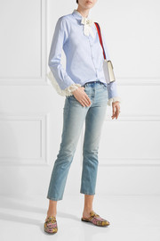 Bow-embellished lace-trimmed cotton-poplin shirt