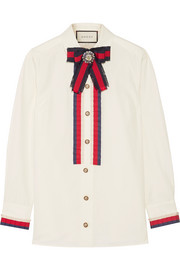 Embellished grosgrain-trimmed cotton-poplin shirt