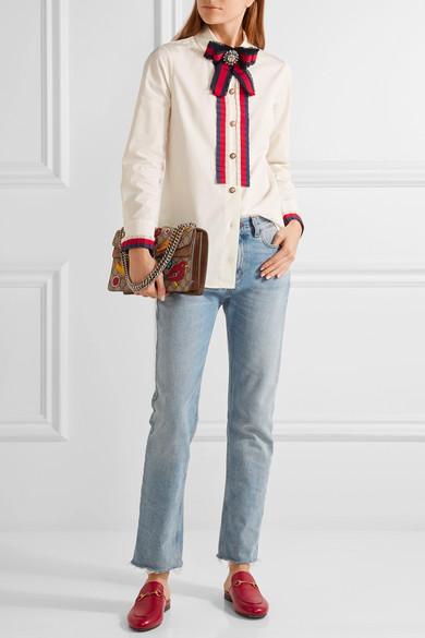 10b19df1a0c Embellished grosgrain-trimmed cotton-poplin shirt