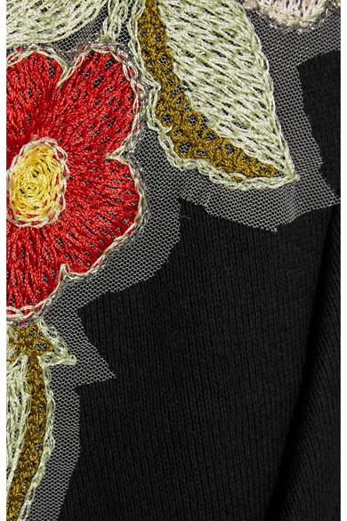 GUCCI Embroidered & Printed Zip-Up Sweatshirt, Black