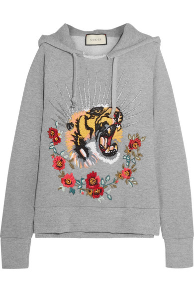 f3d234a1906 Gucci. Embroidered embellished cotton-jersey hooded top